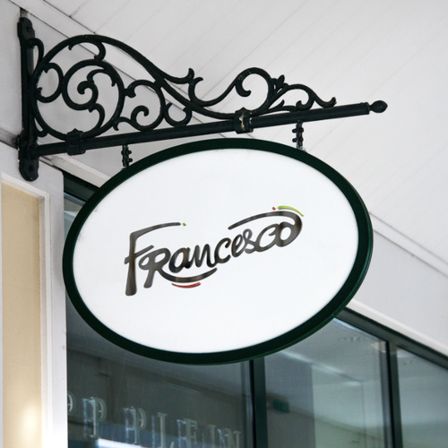 Italian cuisine logo with the title 'Francesco Rebranding'