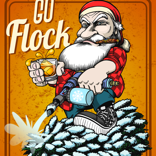 Cartoon artwork with the title 'Flock Yourself Santa'