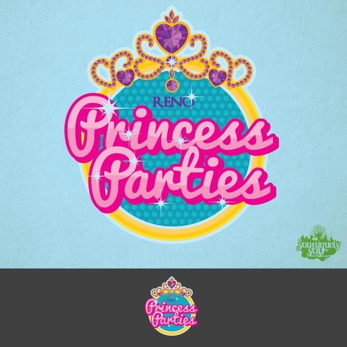 Birthday logo with the title 'Reno Princess Parties Logo'