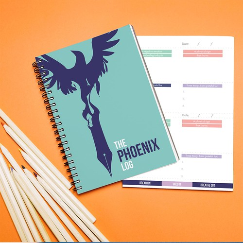 Notebook design with the title 'The phoenix log: journal design'
