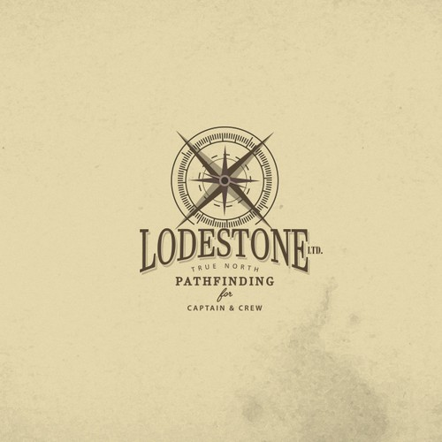 Map brand with the title 'Vintage compass logo for Lodestone Ltd.'