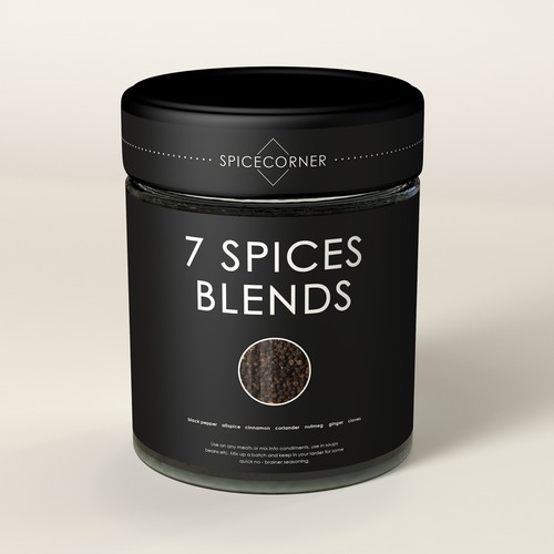 Spice label with the title 'SPIСES PEPPER BLENDS '