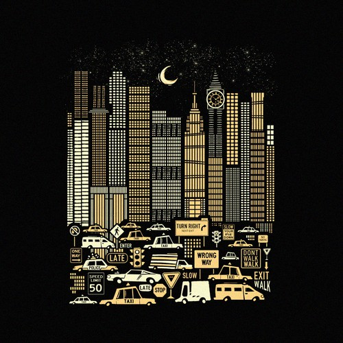 Moon design with the title 'Urban Cityscape'