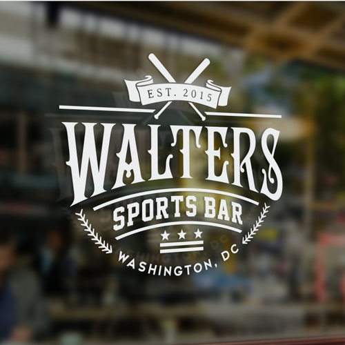 Baseball logo with the title 'Sports Bar'
