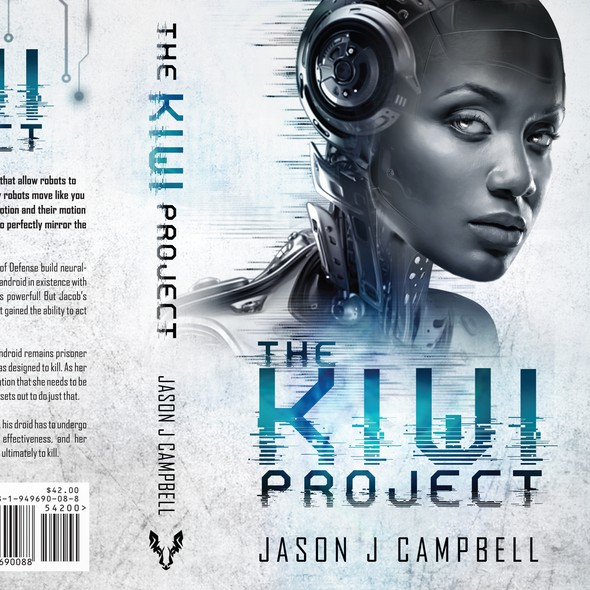 Science book cover with the title 'The Kiwi project - Sci-fi'