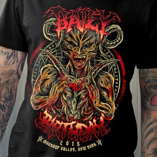 Metal t-shirt with the title 'Design a HEAVY METAL t-shirt that's loud, obnoxious, evil and bloody'