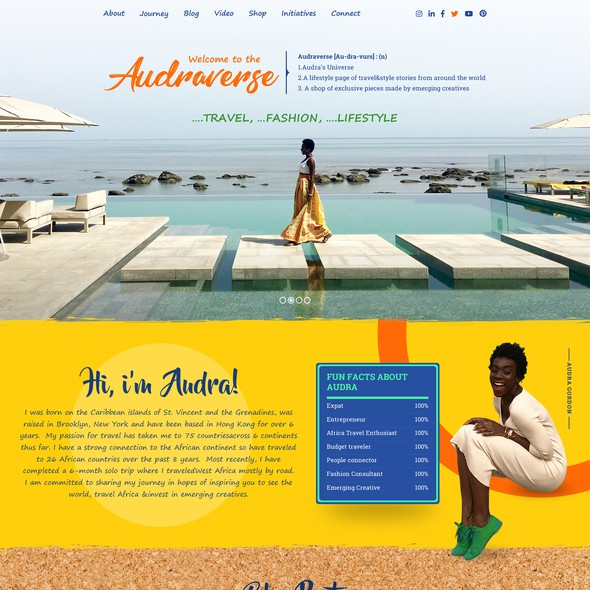 Playful website with the title 'Colorful - travel, fashion, lifestyle web design'