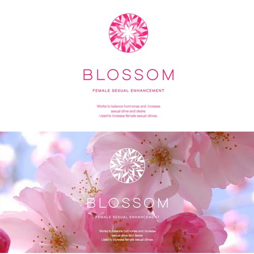 Flower wreath logo with the title 'Blossom'