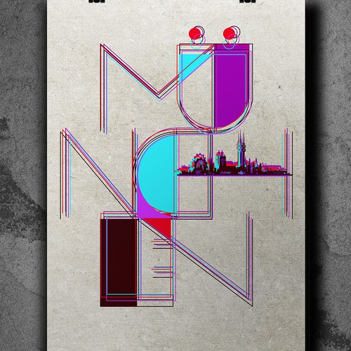 Skyline artwork with the title 'München Poster'