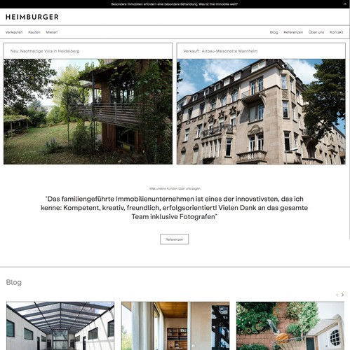 CSS design with the title 'Heimburger Immobilien'
