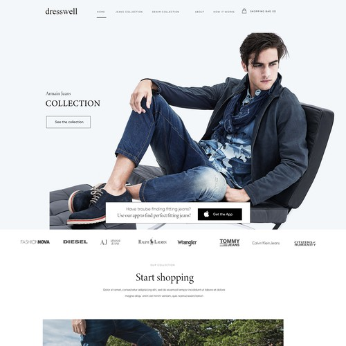 Ecommerce website with the title 'Dresswell iphone app website '