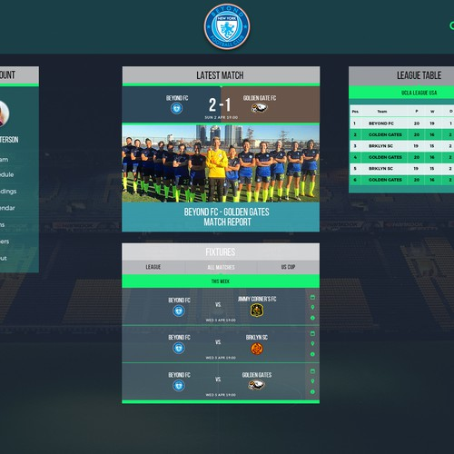 Page design with the title 'Soccer WebApp'