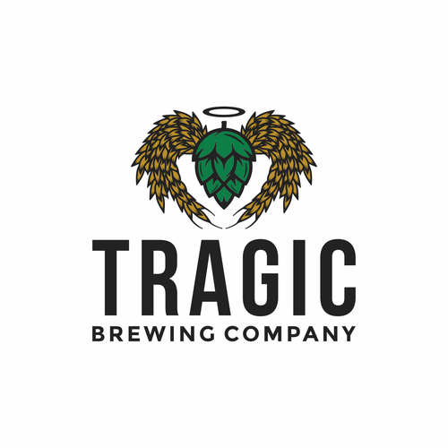 Angel design with the title 'Bold Logo for Tragic Brewing Company'