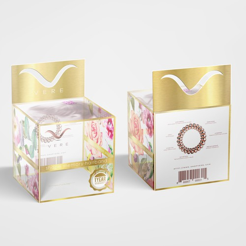 Flower packaging with the title 'Vere hair packaging design'