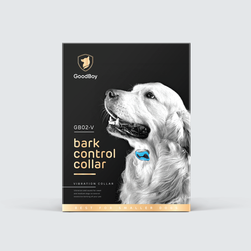 Strong packaging with the title 'Dog bark collar box'