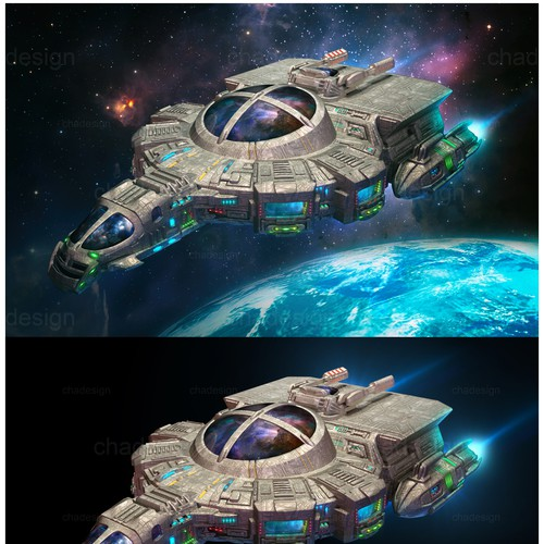 Spaceship design with the title 'Realistic version of existing spaceship illustration'