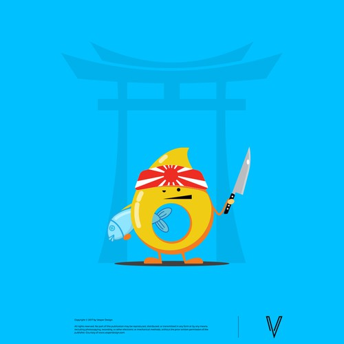 Sushi design with the title 'Funny Drop Mascot'