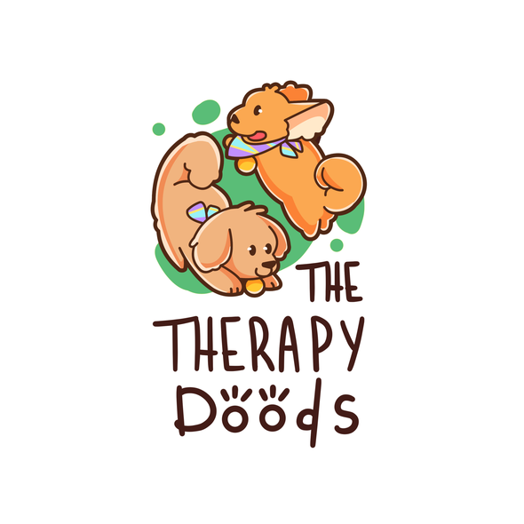 Orange and green design with the title 'Cute Logo Design For Therapy Dogs'