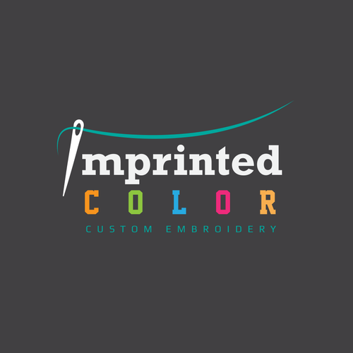 Embroidery design with the title 'Create An Awesome Simple Font Based Logo Design For Custom Embroidery Imprinted Color'