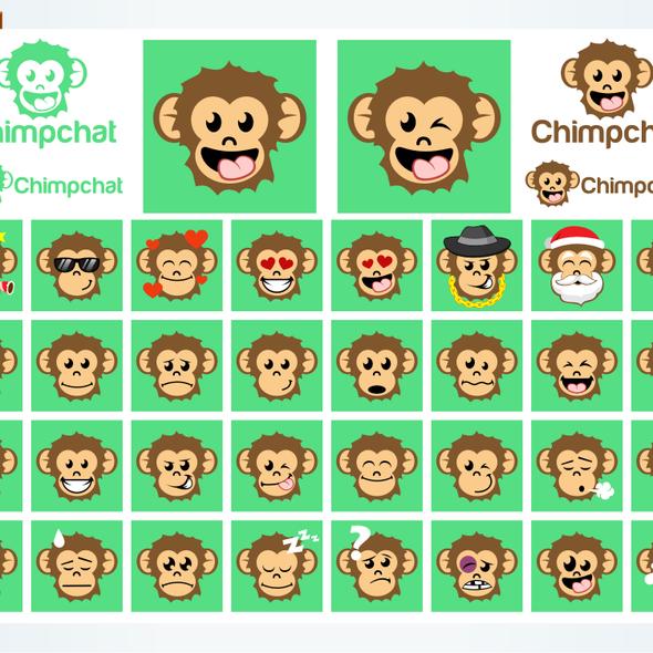Emoticon logo with the title 'chimpchat emoticon design'
