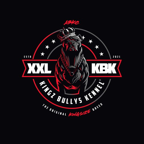 Dog house logo with the title 'King Bully Pitbull Dog Kennel Logo'