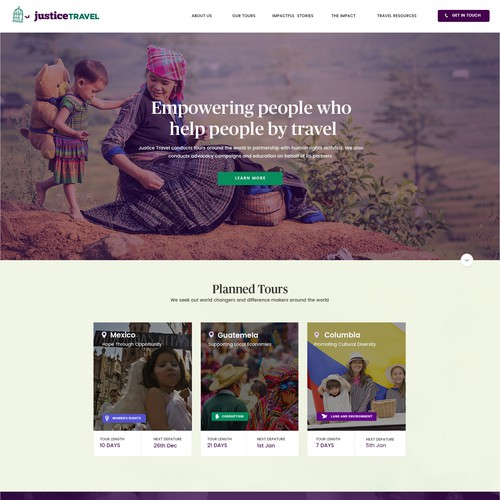 Travel agency design with the title 'Web Design For Justice Travel'
