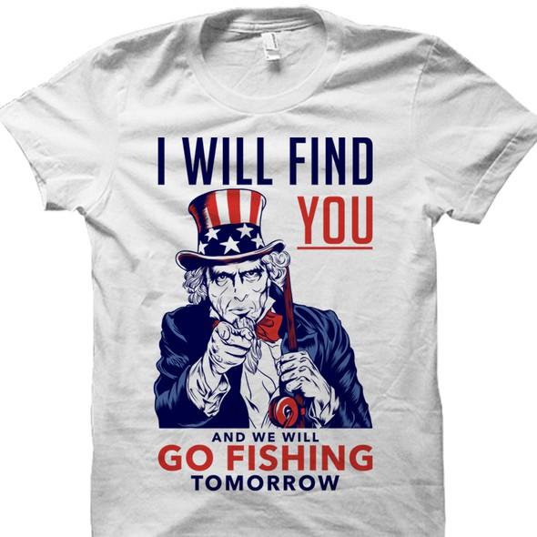 Propaganda design with the title 'Funny fishing tshirt design.'