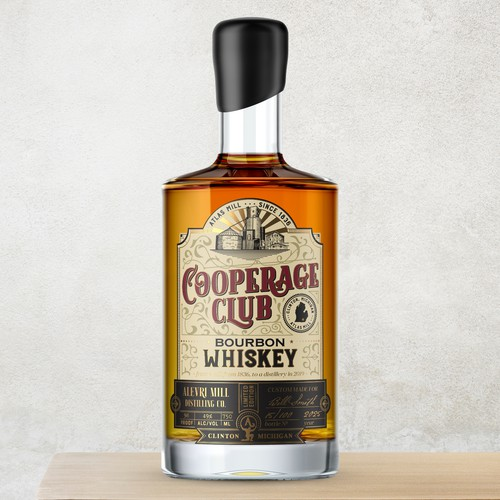 Whiskey label with the title 'Cooperage Club label design for Alevri Mill Distilling co.'