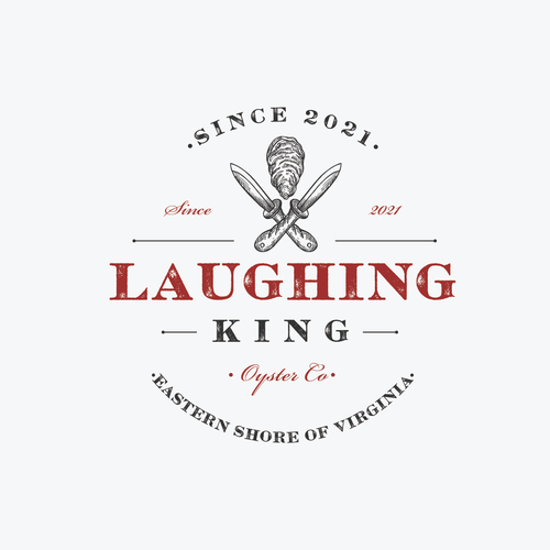 Logo with the title 'Laughing King Oyster Company'