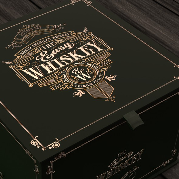 Dark green design with the title 'Whiskey box design'
