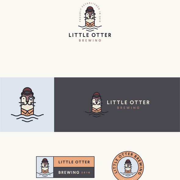 Monoline logo with the title 'Little Otter Brewing'