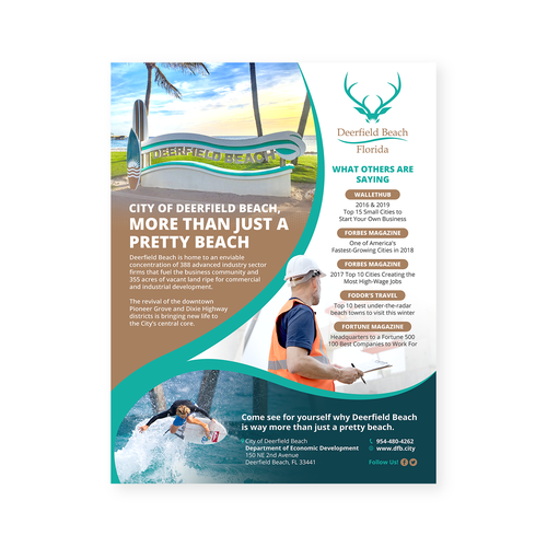 Ad design with the title 'City of Deerfield Beach'