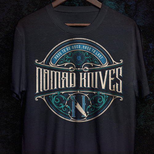 Rustic t-shirt with the title 'Nomad Knives'