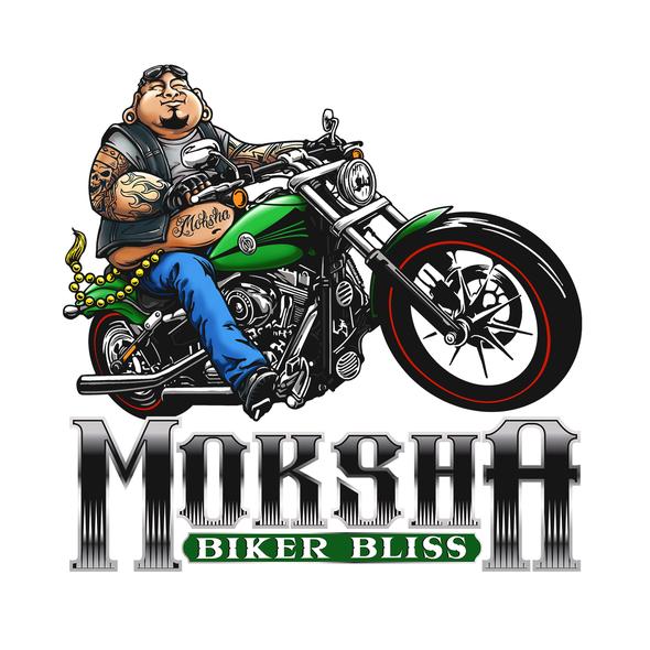 Bike shop design with the title 'Moksha Biker Bliss - Illustration'
