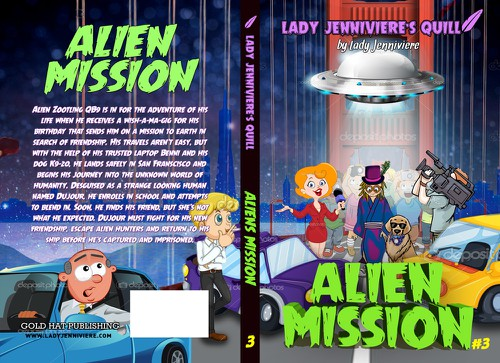 Alien book cover with the title 'e-book and print cover for juvenile fiction ALIEN MISSION'