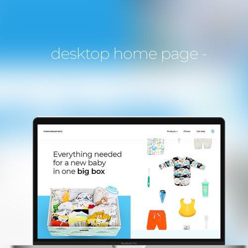 Desktop website with the title 'desktop web page design concept for baby box website'