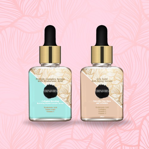 Natural cosmetics packaging with the title 'Botanical Face Serum'