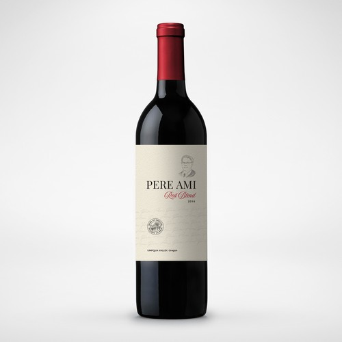 Red wine label with the title 'Pere Ami Wine Label'