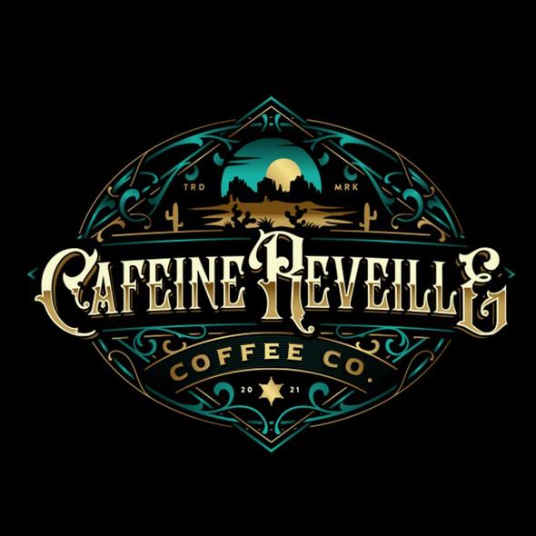 Cowboy design with the title 'Cafeine Reveille'