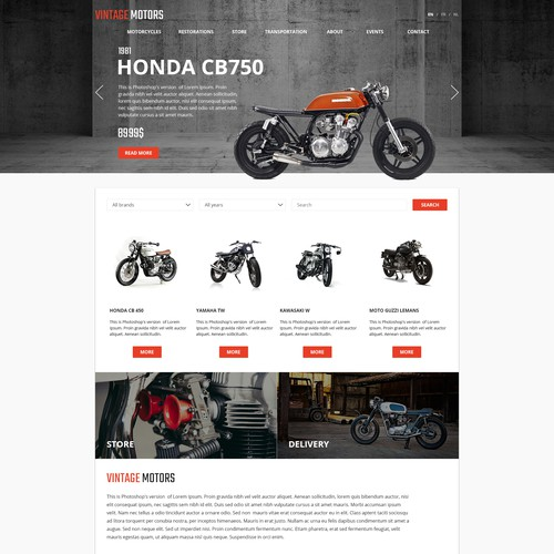 Motorcycle website with the title 'Classic and vintage motorcycles'