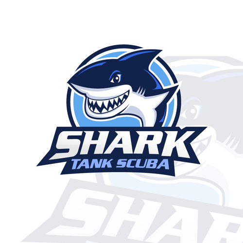 Diving logo with the title 'SHARK TANK SCUBA'
