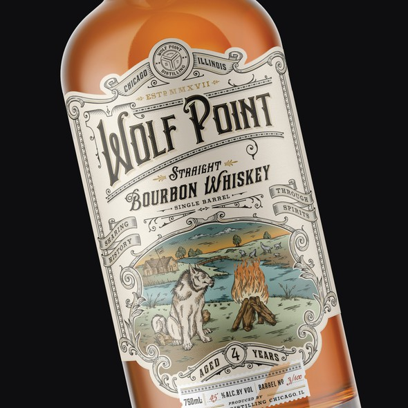 Victorian design with the title 'Wolf Point Straight Bourbon Whiskey'