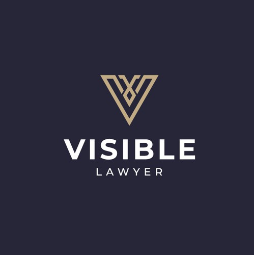 Gold V logo with the title 'Logo winner for Visible Lawyer !!'