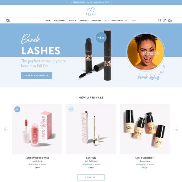 Eshop design with the title 'website for a fun & playful cosmetics retailer'
