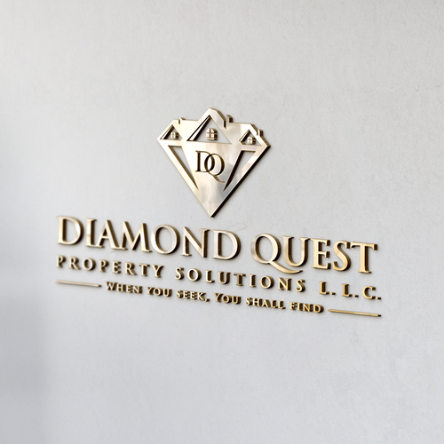 """Roofing logo with the title 'Create an amazing elegant unique home logo for """"Diamond Quest Property Solutions""""'"""