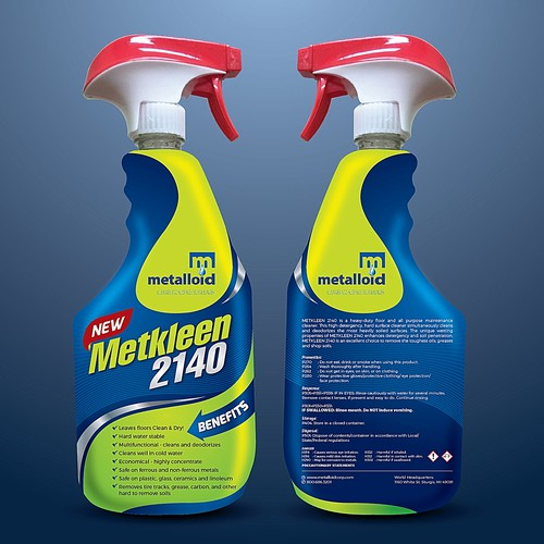 Dynamic design with the title 'Creative Label for a Multi Purpose Cleaner'