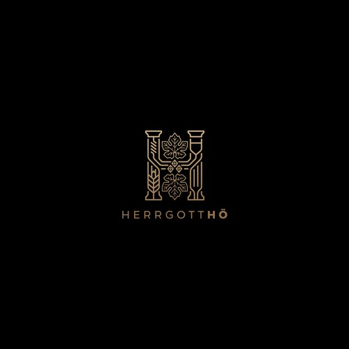 Gold logo with the title 'Classic vs modern concept design for HerrgottHO.'