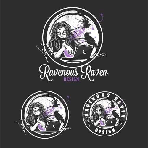 Raven logo with the title 'Create a Badass Logo for An Awesome Girl Web Designer'