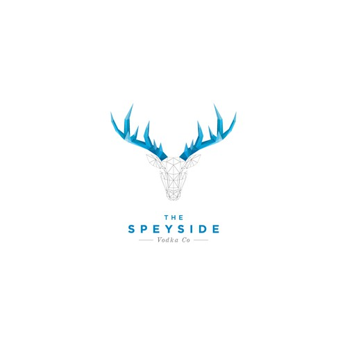 Stag logo with the title 'geometric and polygon logo style for a small batch Scottish Vodka'