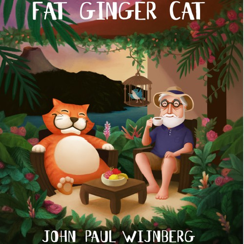 Cat artwork with the title 'The Old Man and the Fat Ginger Cat '